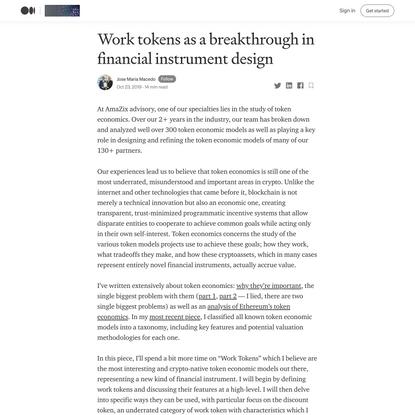 Work tokens as a breakthrough in financial instrument design