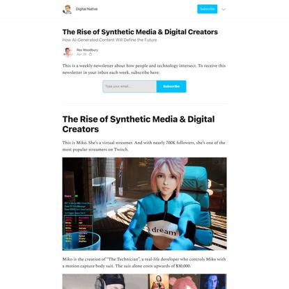The Rise of Synthetic Media & Digital Creators