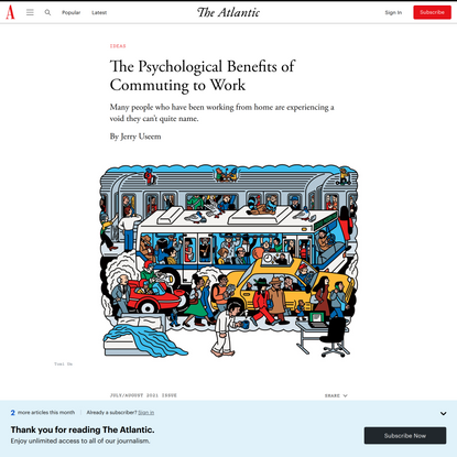 The Psychological Benefits of Commuting to Work