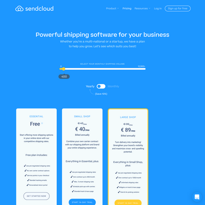 Pricing and plans   Sendcloud   Europe's #1 Shipping Software