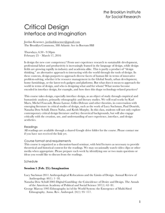 The Brooklyn Institute for Social Research; Critical Design: Interface and Imagination