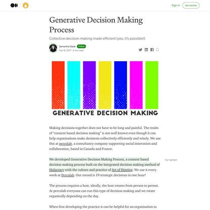 Generative Decision Making Process