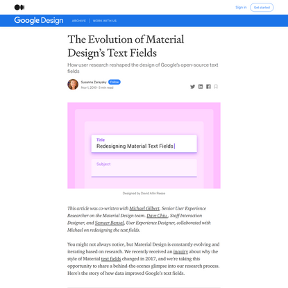 The Evolution of Material Design's Text Fields