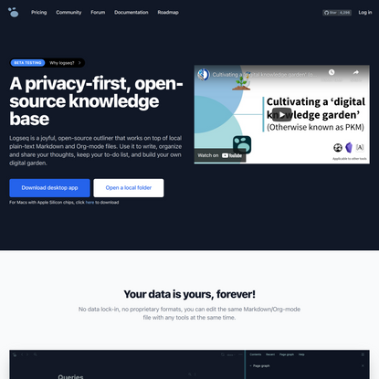 A privacy-first, open-source knowledge base