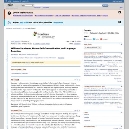 Williams Syndrome, Human Self-Domestication, and Language Evolution