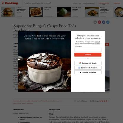 Superiority Burger's Crispy Fried Tofu Sandwich Recipe