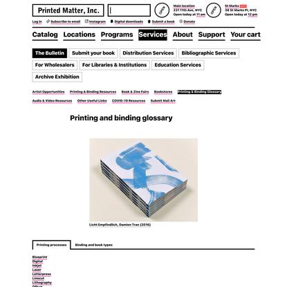 Printing and Binding Terms - Printed Matter