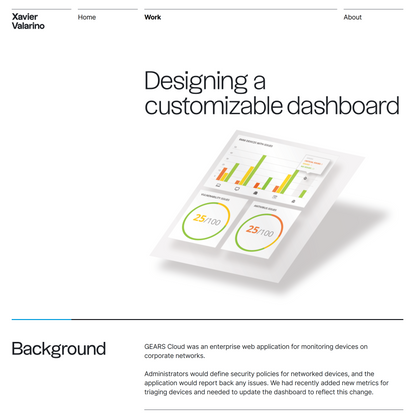 XV | Designing a customizable dashboard