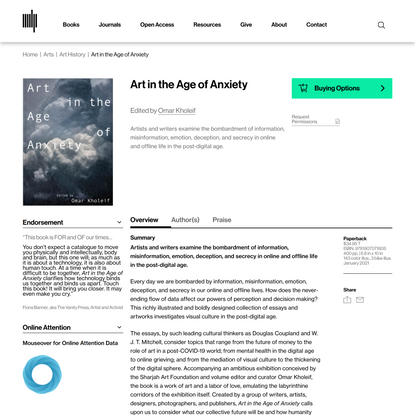 Art in the Age of Anxiety   The MIT Press