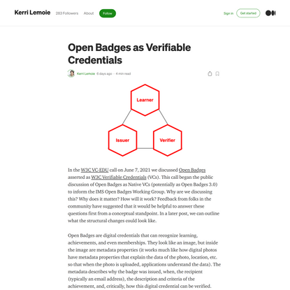 Open Badges as Verifiable Credentials   by Kerri Lemoie   Jun, 2021   Medium