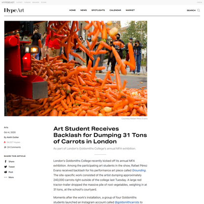 Art Student Receives Backlash for Dumping 31 Tons of Carrots in London
