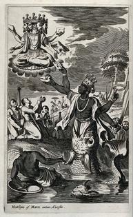 Vishnu in his incarnation as Matsya, the fish, has slain the danava demon who stole the sacred Veda texts from Brahma.