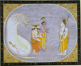 The Cosmic Ocean Reveals Brahma, Vishnu and Shiva (opaque watercolor and gold on paper, San Diego Museum, 1835)