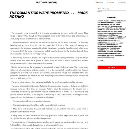 The Romantics were Prompted . . . - Mark Rothko - ART THEORY