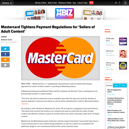 Mastercard Tightens Payment Regulations for 'Sellers of Adult Content'