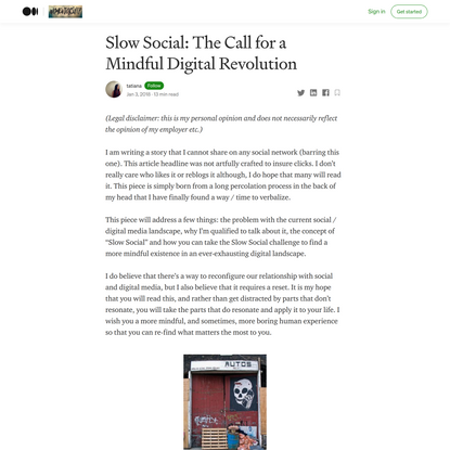 Slow Social: The Call for a Mindful Digital Revolution