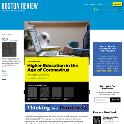 Resisting Distance Learning   Boston Review
