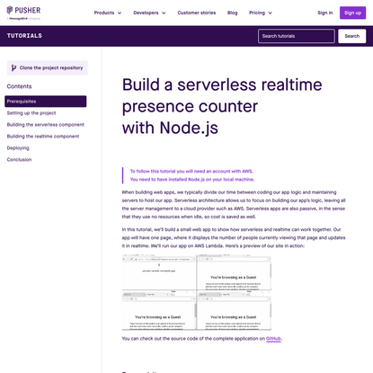 Build a serverless realtime presence counter with Node.js