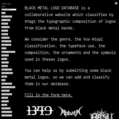 BLACK METAL LOGO DATABASE