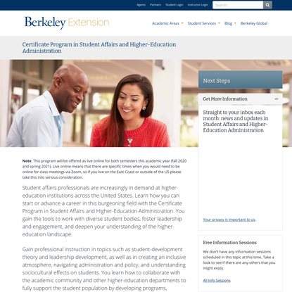 Certificate Program in Student Affairs and Higher-Education Administration