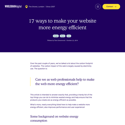 17 ways to make your website more energy efficient