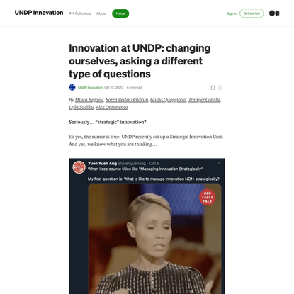 Innovation at UNDP: changing ourselves, asking a different type of questions