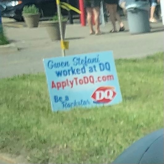 gwen stefani worked at dq, so can u