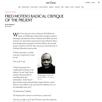 Fred Moten's Radical Critique of the Present