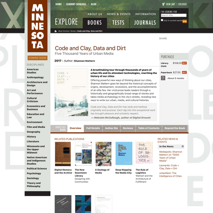 Code and Clay, Data and Dirt — University of Minnesota Press