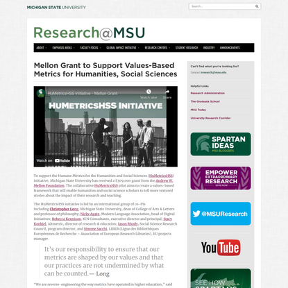 Mellon Grant to Support Values-Based Metrics for Humanities, Social Sciences | Research at Michigan State University