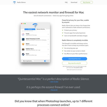Radio Silence   Network monitor and firewall for Mac