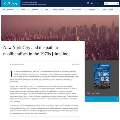 New York City and the path to neoliberalism in the 1970s [timeline] | OUPblog