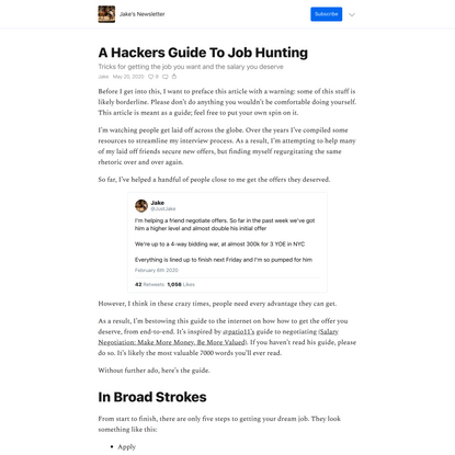 A Hackers Guide To Job Hunting