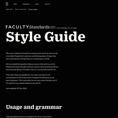 Faculty — Standards — Style Guide
