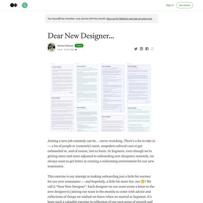 Dear New Designer…
