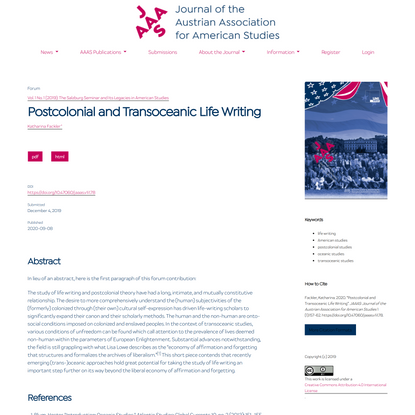 Postcolonial and Transoceanic Life Writing | JAAAS: Journal of the Austrian Association for American Studies
