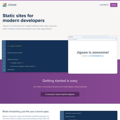 Jigsaw – Static Sites for Laravel Developers