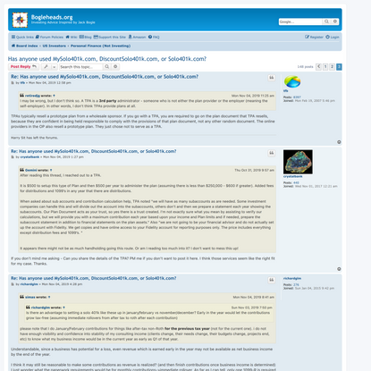 Has anyone used MySolo401k.com, DiscountSolo401k.com, or Solo401k.com? - Page 3 - Bogleheads.org