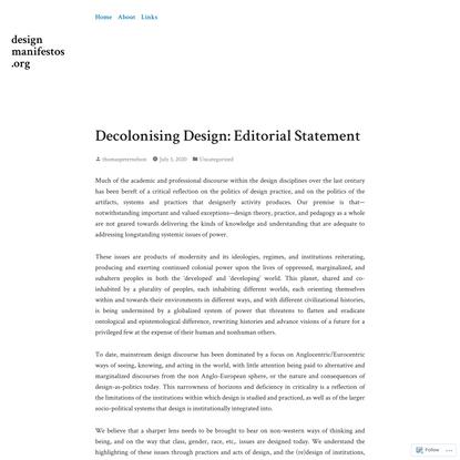 Decolonising Design: Editorial Statement