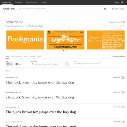 Bookmania from Mark Simonson Studio