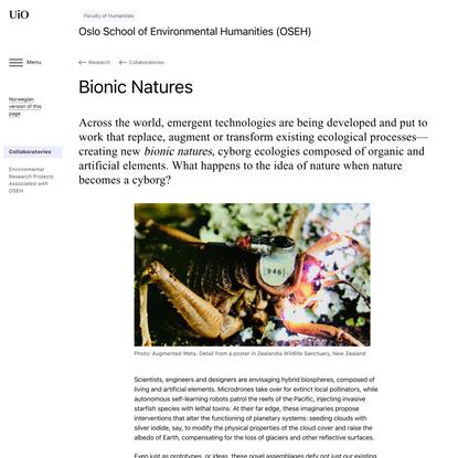 Bionic Natures - Oslo School of Environmental Humanities (OSEH)