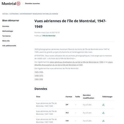 Vues aériennes de l'île de Montréal, 1947-1949 - Dataset