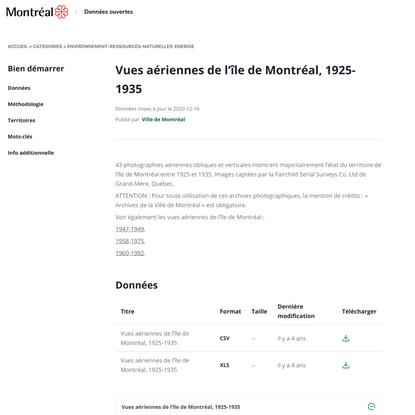 Vues aériennes de l'île de Montréal, 1925-1935 - Dataset