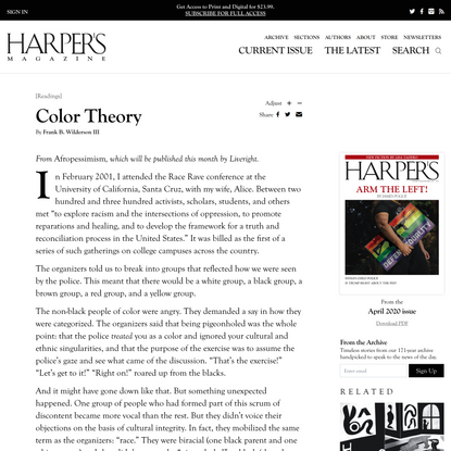 [Essay] Color Theory, by Frank B. Wilderson III   Harper's Magazine