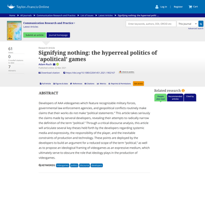 Signifying nothing: the hyperreal politics of 'apolitical' games
