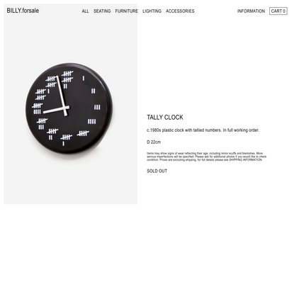 TALLY CLOCK – BILLY.forsale
