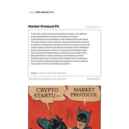Market-Protocol Fit