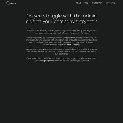 Crypto@Work   Multis