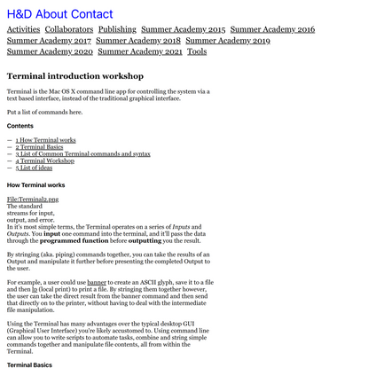 Terminal introduction workshop • H&D