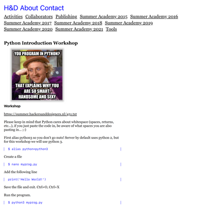 Python Introduction Workshop • H&D
